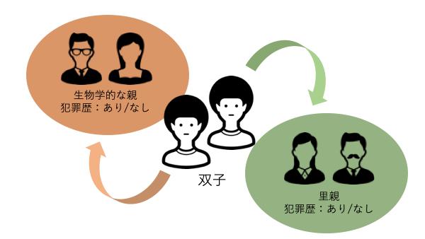 養子縁組実験のイメージ